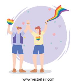 LGBTQ community, happy man and woman with rainbow flags, gay parade sexual discrimination protest