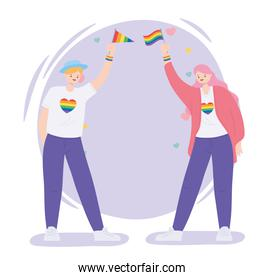 LGBTQ community, young women with rainbow flags and hearts love, gay parade sexual discrimination protest