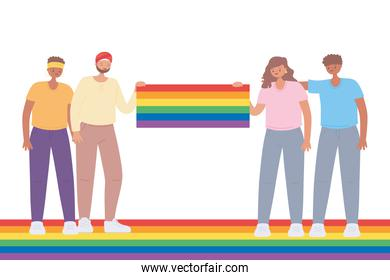 LGBTQ community, group young people huge rainbow flag celebration, gay parade sexual discrimination protest
