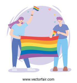 LGBTQ community, happy man and woman with rainbow flag celebration, gay parade sexual discrimination protest