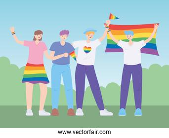 LGBTQ community, people hug holding a rainbow flag, gay parade sexual discrimination protest