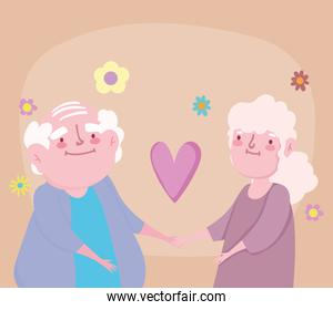 happy grandparents day, old couple cartoon in love adorable