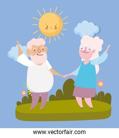 happy grandparents day, elderly couple holds hands cartoon, grandfather grandmother characters