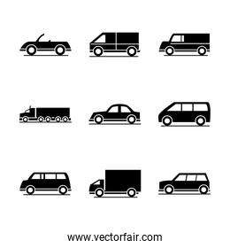 car model sport truck van transport vehicle silhouette style icons set design