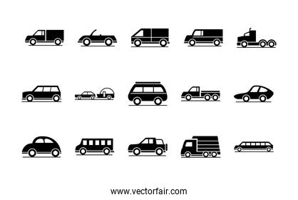 car model trailer bus truck transport vehicle silhouette style icons set