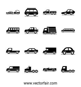 car model mini truck campervan transport vehicle silhouette style icons set design