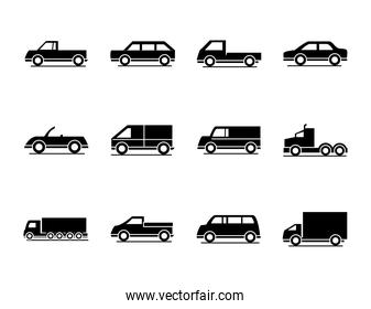 car model truck container pickup container transport vehicle silhouette style icons set design