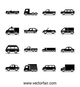 car model delivery truck passenger public transport vehicle silhouette style icons set design