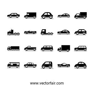 cars model sedans suv pickup truck transport vehicles silhouettes