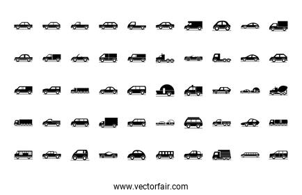 car model transport vehicle silhouette style icons set design