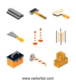 isometric repair construction work tool and equipment hammer trowel toolbox flat style icons set