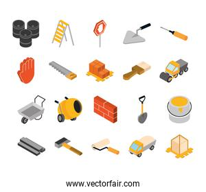 isometric repair construction work tool and equipment flat style icons set