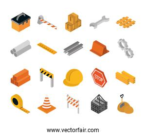 isometric repair construction work tool and equipment toolbox barrier boxes wrench hekmet measure tape flat style icons set