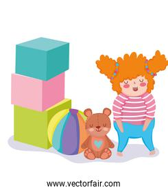 toys object for small kids to play cartoon, little girl with bear ball and huge blocks