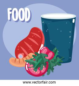 food dinner menu fresh beef sausage tomatoes and soda lilac color