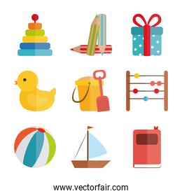 cartoon toys pyramid duck ball boat, object for small children to play, flat style icons set
