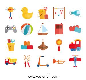 cartoon toy rattle duck bucket abacus helicopter boat plane, object for small children to play, flat style icons set
