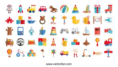 cartoon toys object for small children to play, flat style icons set