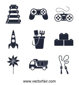 cartoon toys pyramid control rocket bucket truck, object for small children to play, silhouette style icons set