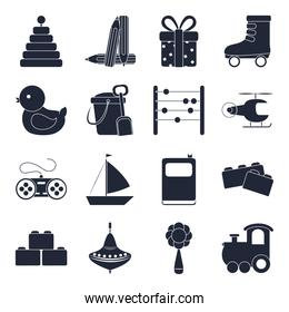 cartoon toy pyramid gift duck boat train blocks, object for small children to play, silhouette style icons set