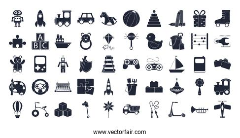 cartoon toys object for small children to play, silhouette style icons set