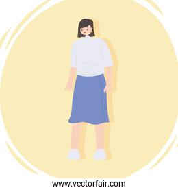 young woman wearing casual clothes standing icon design