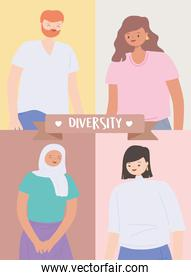 diverse multiracial and multicultural people, portrait man and women character