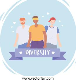 diverse multiracial and multicultural people, diversity men and woman cartoon character