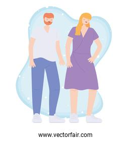 diverse multiracial and multicultural people, young couple character cartoon design