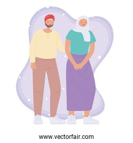 diverse multiracial and multicultural people, muslim young couple character cartoon design