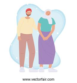 diverse multiracial and multicultural people, arabian young couple character cartoon design