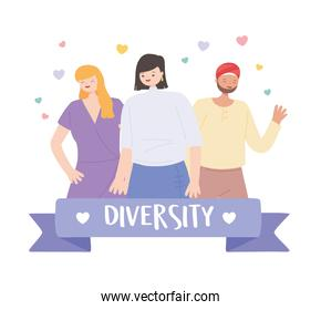 diverse multiracial and multicultural people, various groups and ethnic