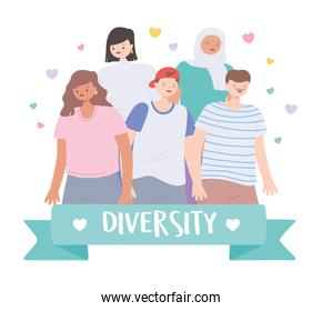 diverse multiracial and multicultural group people standing different characters