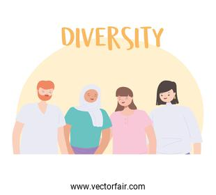 diverse multiracial and multicultural people, young group persons together characters