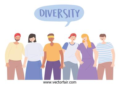 diverse multiracial and multicultural people characters different cartoon