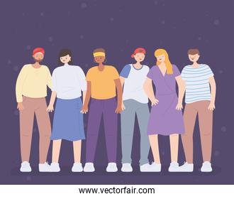 diverse multiracial and multicultural people, persons figures diversity cartoon avatar