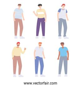 diverse multiracial and multicultural people, diversity men young group cartoon