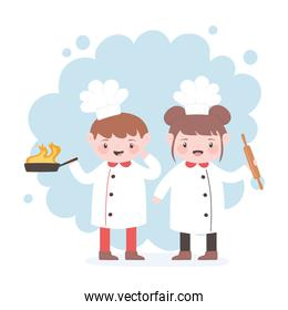 chefs boy and girl cartoon character with fried pan and roller pin
