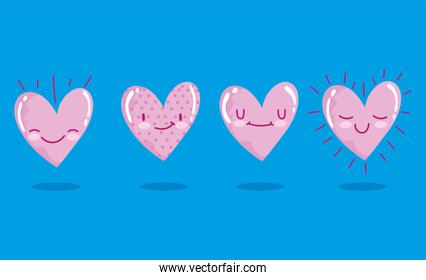 love romantic hearts cartoon characters blue background