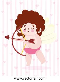 love cute little cupid with arrow bow and hearts romantic cartoon background