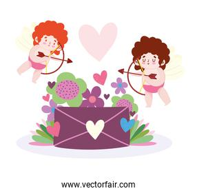 love flying cupids with arros and bow flowers envelope romantic cartoon