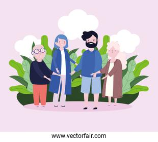 family grandparents and parents together member cartoon character