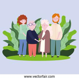 family father mother and grandparents nature leaves cartoon character