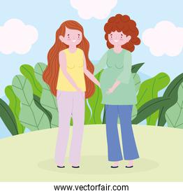 family mother and pregnant woman outdoors cartoon character