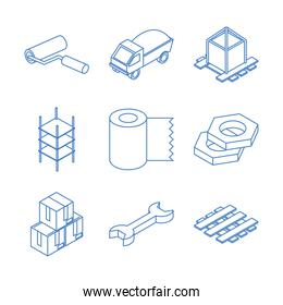 isometric repair construction work tool and equipment hammer trowel toolbox flat style icons