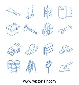 isometric repair construction work tool and equipments line style icons set