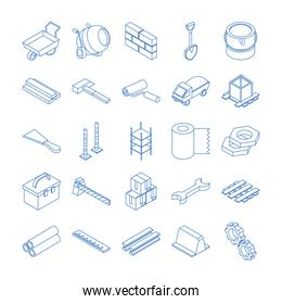 isometric repair construction work tool and equipment line style icons set