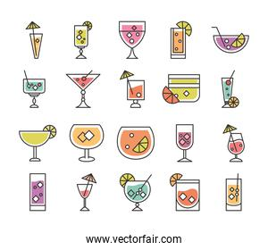 cocktail icon liquor refreshing alcohol glass cups iced drinks icons set