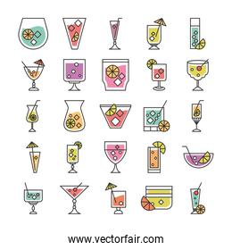cocktail icon drink liquor alcohol fresh glass cups party icons set