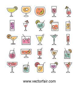cocktail icon drink liquor refreshing alcohol glass cups berry fruits ice cubes umbrellas icons set